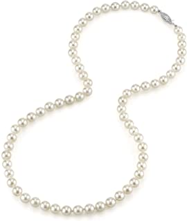 White Akoya Saltwater Cultured Pearl Necklace for Women in 18 Inch Length with 14K Gold and AAA Quality - THE PEARL SOURCE