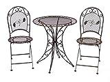 aubaho Gartentisch + 2X Stuhl Eisen Antique Style Gartenmöbel Garden Furniture braun