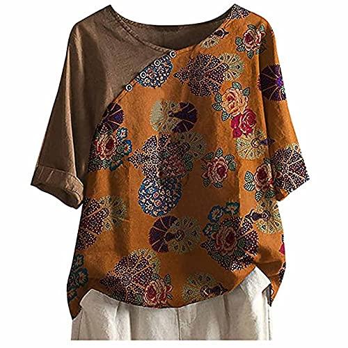 Summer Women Linen Cotton Tshirt Tops Ladies Trendy 3/4 Sleeve Vintage Print Loose Fit Plus Size Button Blouses Tees
