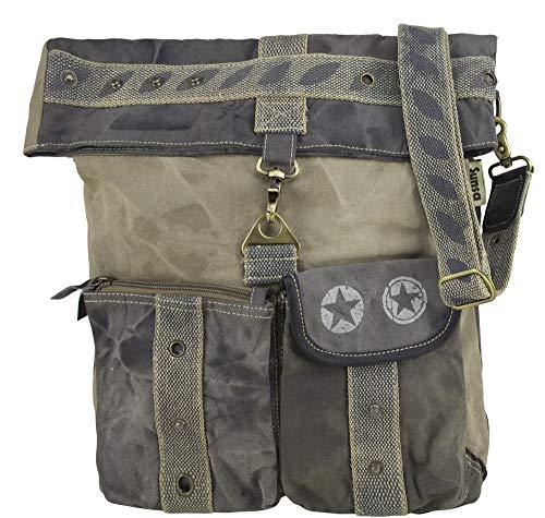 Sunsa Canvas beige Umhängetasche große Damen Schultertasche Crossbody Tasche Damentasche mit Leder Henkeltasche Reisetasche Vintage Handtasche Studententasche Unisextasche