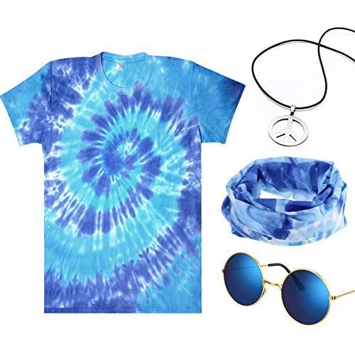 4 Pieces Hippie Costume Set, Include Colorful Tie-Dye T-Shirt, Blue, Size Small - http://coolthings.us