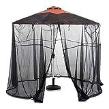 YONG 11ft Outdoor Garden Umbrella Table Screen Parasol Mosquito Net Cover Bug Netting Cover,Diameter 3.35m,Polyester,Single Door,Zipper Entrance
