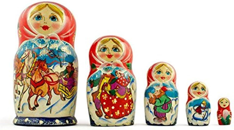7'' Set of 5 Running Horses Trio Wooden Russian Nesting Dolls Matryoshka
