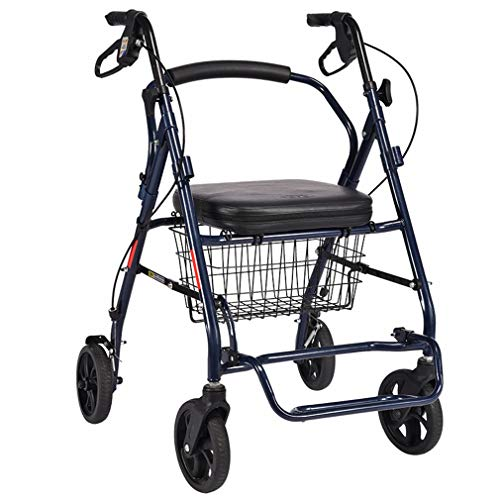 LY-JFSZ Rollstuhl-Einkaufstrolleys, Alte Leute Seat Gehhilfe 4 Runden Zusammenklappbarer Einkaufskorb
