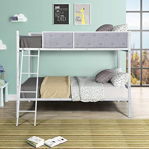 Upholstered Twin Over Twin Bunk Bed with Sturdy Steel Frame and Headboards Kids Bed Bedroom with Guard Rail and Ladder Easy Assembly (Blue)