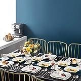 MALACASA, Serie Elvira, 60 TLG. CremeWeiß Porzellan Geschirrset Kombiservice Tafelservice mit Tassen, Untertassen, Dessertteller, Suppenteller und Flachteller für 12 Person - 7