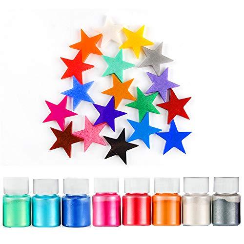 Heatigo Epoxidharz Farbe Mica Pulver,8 Farben Seifenfarbe Set Pigmente Pulver(10g), Metallic Farben Schimmern Sie Glitter Powder,Seife, Badebombe, Kerze, Kosmetischer, Lidschatten, Nagellack, Schleim