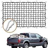 Rete da carico per pickup camion 1,5 m x 2,1 m, resistente, con 16 moschettoni in metallo, colore nero