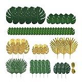 KINHONG 60 pezzi di 9 tipi di foglie di palma artificiali con steli, foglie di giungla, decorazioni hawaiane, feste tropicali, matrimoni, decorazioni di compleanno