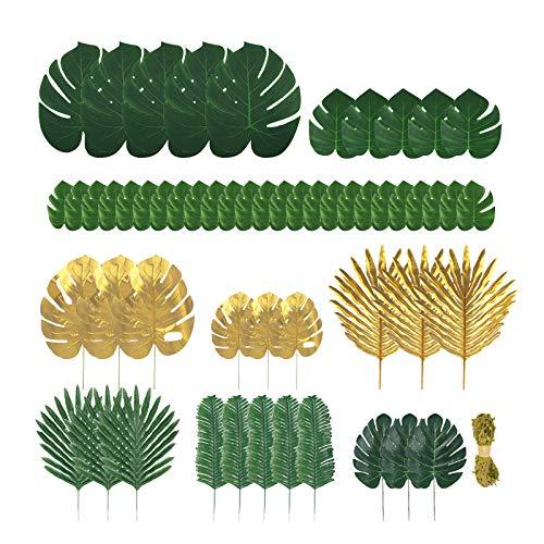 Kinhongg 60 pièces de 9 types de feuilles de palmier artificielles avec tiges, feuilles de jungle, décorations de fête hawaïenne, fête tropicale, mariage, anniversaire