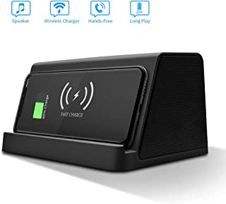 Portable Speaker,Wireless Charging,Power Bank,EIATBF 3in1 Bluetooth Speaker&Wireless Charger Stand&4000mAh Portable Charger.Tri-Bass Effect.Compatible with IphoneXS/X/XR/8/8PGalaxyS10+,S10,S9 And More