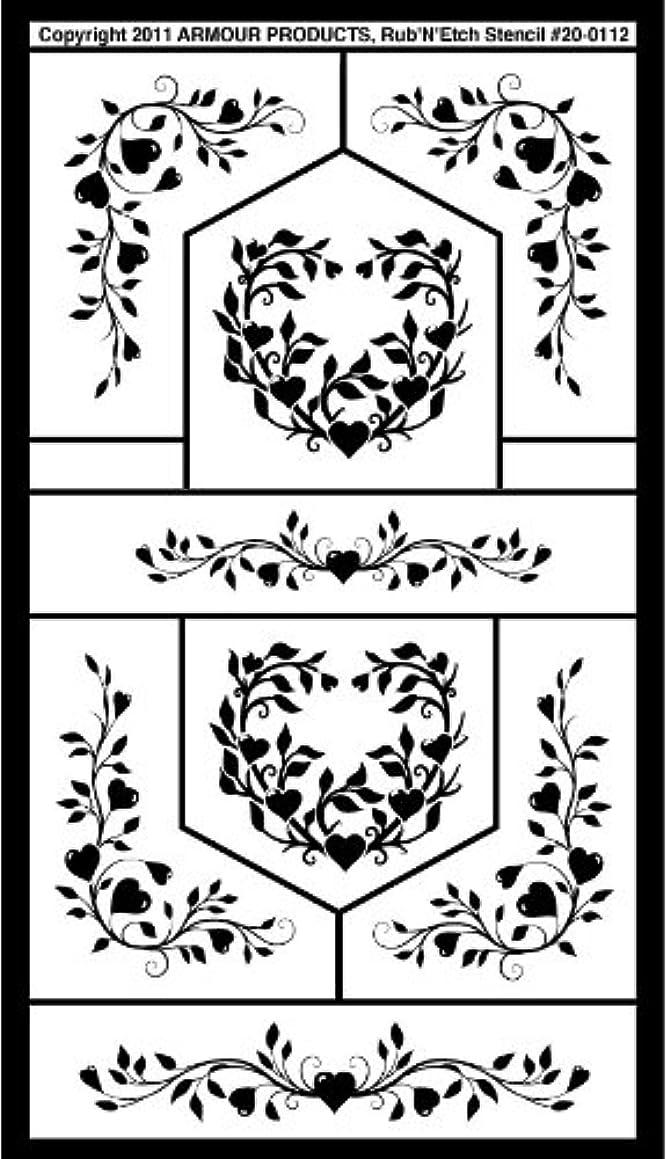 Armour Etch Stencil Rub N Etch Stencil, Floral Hearts, 5-Inch by 8-Inch