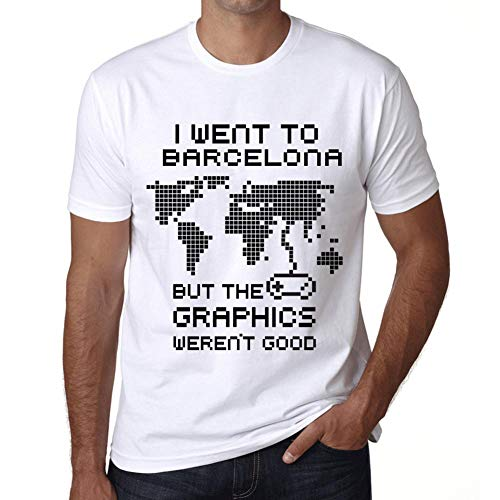 Hombre Camiseta Vintage T-Shirt Gráfico I Went To Barcelona Blanco