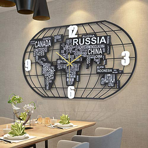 FCX-CLOCKUHR Weltkarte Wanduhr für Wohnkultur, Kunst aus Eisen Moderne Kreative Einfache Wanduhr, Stumm Wanduhr für Arbeitszimmer Wohnzimmerdekoration, 100 x 52 cm