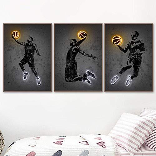WKHRD Póster de Jugador e impresión Zapatillas de Baloncesto Luces de neón Pintura en Lienzo Cuadros Abstractos de Pared para la decoración del hogar de la Sala de Estar | 40x60cmx3 (Sin Marco)