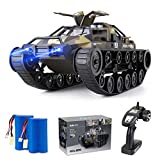 Ruko RC Tank Car for Kids and Adults, 1:12 Scale All Terrain Off-Road Military Truck, 15KM/H High Speed Spraying Vehicle Toy with 2 Batteries, 45 Mins Play, 360°Drifting, Gift for Boy Girl