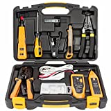 InstallerParts 15 Piece Network Installation Tool Kit – Includes LAN Data Tester, RJ11/45 Crimper, 66 110 Punch Down, 20-30 Gauge Wire Stripper, Utility Knife, 2 in 1 Screwdriver, and Hard Case