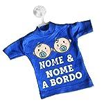 Mini T-shirt magliettina blu chiaro auto macchina ventosa gruccia bimbo bimba a bordo personalizzata nome fratelli sorelle gemelli bebè
