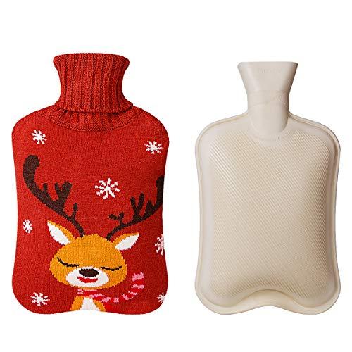 2000ml Bolsa de agua caliente con tapa de punto, ANBET Calentador de bolsa de agua caliente de goma Elk Cute en invierno - para Navidad