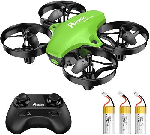 Potensic A20 Mini Drone Amélioré Télécommandé 21 Mins Autonomie avec Trois Batteries , Hélicoptère RC avec Vol Stationnaire, Mode Sans Tête, Jouet Cadeau pour Enfant et Débutants - Vert