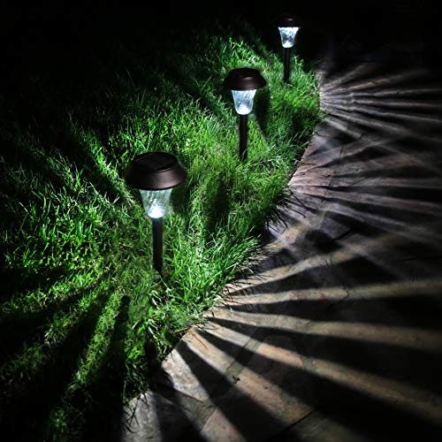 Enchanted Spaces Black Solar Path Light, Set of 6, with Glass Lens, Metal Ground Stake, and Extra-Bright LED for Lawn, Patio, Yard, Walkway, Driveway