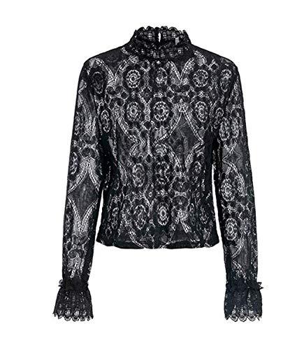 ZIYYOOHY Damen Spitze Weiß Elegant Bluse Sommer Langarm Stehkragen Transparent Top Shirts Tunika Hemd Mit Trompetenärmel (38, Schwarz)