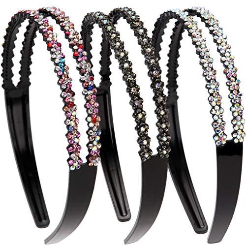 Loneedy Modische Haarreife, mit Strass und Kristall, hart, rutschfeste Zinken, Kopfbügel für Damen, 3er-Packung