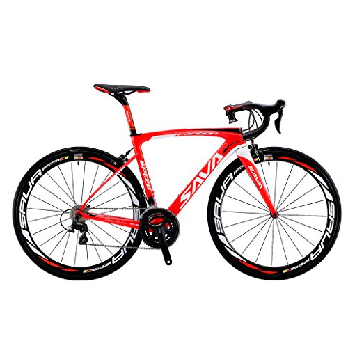 Great Deal! Carbon Road Bike, SAVA HERD6.0 T800 Carbon Fiber 700C Road Bicycle with 105 22 Speed Gro...