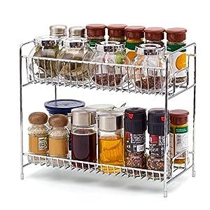 2 Niveles Estantería, EZOWare Cocina Baño Estante Especiero de Pie Libre Encimera Organizador Multiuso para Especias/Hierbas, Condimentos, Jabones, Botelas, Frascos – Cromo