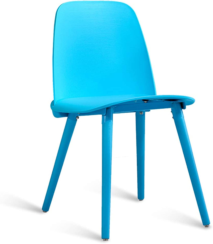 LRW Modern Fashion Chair Restaurant, Creative Dining Chair, Nordic Desk Chair, Leisure Backrest Stool, Steel Legs, bluee