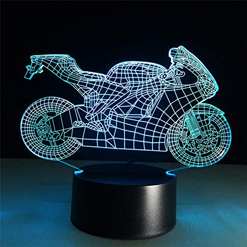 Speed and Passion 3D Light Motorfiets LED Night Light Action Figuur 7 kleuren Touch Table Decoration Optische illusie