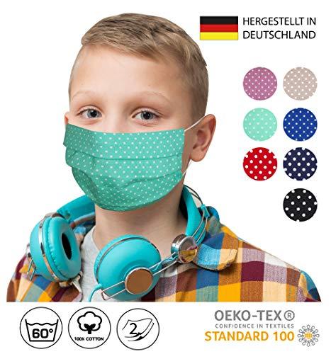 KINDER/JUGENDLICHE Facies MINT weiß kleine Punkte für die Schule ab 4 Jahre wiederverwendbare Stoff Facies aus hochwertiger Baumwolle waschbar Mund und Nasenbedeckung