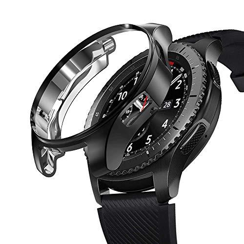 Galaxy Gear S3 Classic Galaxy Watch 46mm ケース 耐衝撃 クリア TPU Galaxy Watch 46mm 専用設計 Galaxy Gear S3 Frontier 対応 (ブラック)