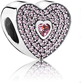 SUNWIDE Pink Crystal Heart Love Charm Fit Pandora Charms Bracelets