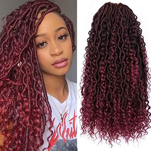 6 Packs Alimiriam New Goddess Locs Crochet Hair 18 inch Burgundy River Locs Goddess Faux Locs Crochet Hair Faix Locs Crochet with Curly Ends in Middle and Ends (18' 6Packs T1B/BUG#)