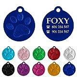 Placa Redonda con Huella para Mascotas pequeñas-Medianas Chapa Medalla de identificación Personalizada para Collar Perro Gato Mascota grabada (Azul)