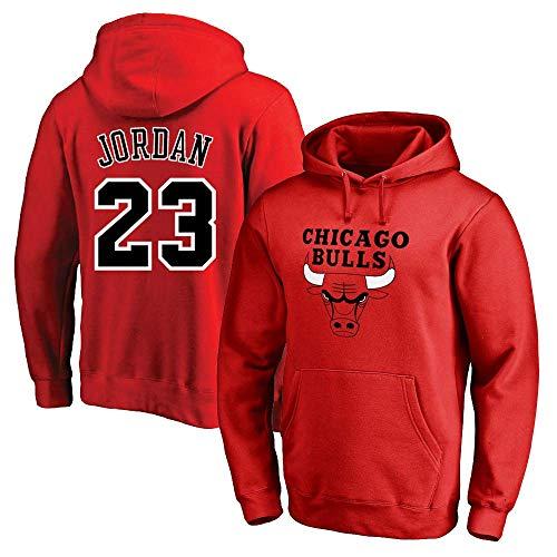 NBA Basketball Hoodie Chicago Bulls 23# Jordan Jersey Mit Kapuze Pullover-Lose Basketball Sweatshirt T-Shirt Bluse Tracksuits,Rot,XXL:180~190cm