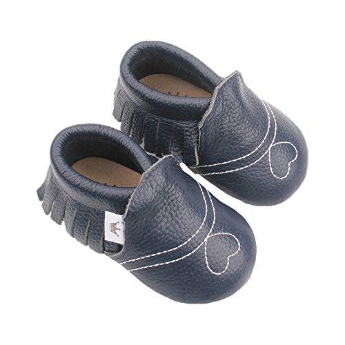 Liv & Leo Krabbelschuhe Moccasins Designer Babyschuhe aus U.S.A - Herzchen Kollektion (6-12 Monate (EUR 18), Dunkelblau)