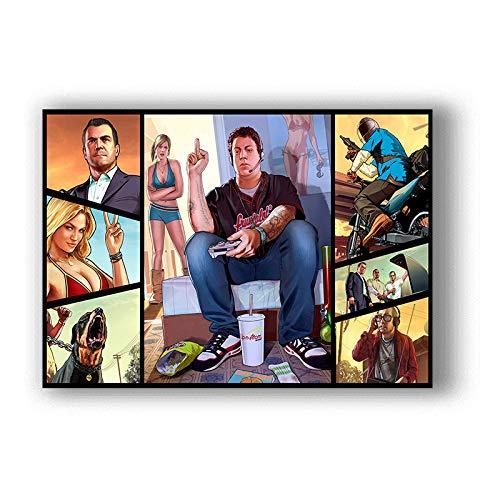 H/F Grand Theft Auto 5 HD Juego Lienzo Póster DIY Estilo Nórdico Moderno Decoración De Sala De Estar Familiar Mural Sin Marco 40X50Cm 5596