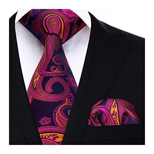 Hisdern HISDERN Herren Krawatte Blumen Paisley Krawatte & Einstecktuch Set Pink Blau Orange