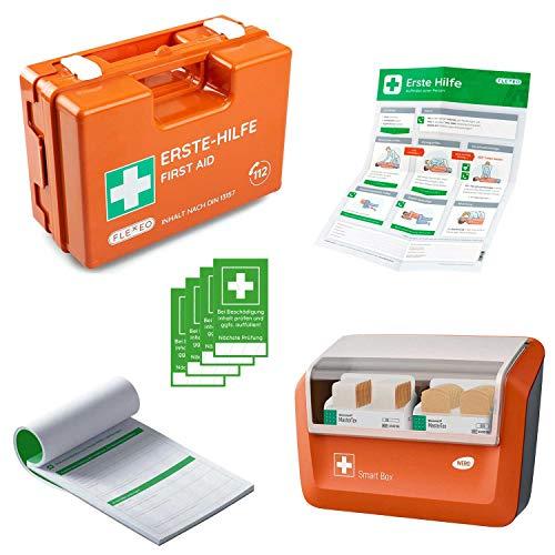 Erste-Hilfe-Koffer für Betriebe mit Inhalt nach DIN 13157 in orange, Verbandkasten gefüllt und mit Wandhalterung, Meldeblock, Erste-Hilfe Anleitung, Siegelaufkleber und gefülltem Pflasterspender