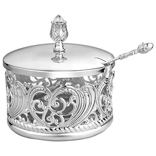 Noble Elegante Schale, für mehrere Lebensmittel, perfektes Geschenk für Feiertage, Hochzeiten, Einweihungsfeiern (Silber mit Glasinnen)