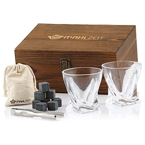 Mahlzeit Juego de Whisky I 13 PIEZAS I Con Cubos de Hielo Reutilizables I Vasos I Pinzas I Caja Decorativa de Madera