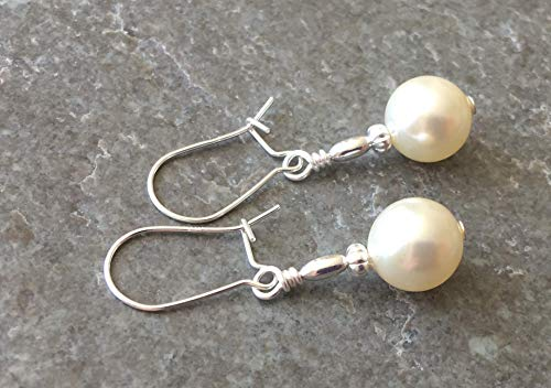 Bridal Cream Glass Pearl & Sterling Silver Drop Earrings with Gift Box