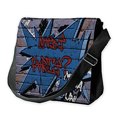 Graffiti 10009, Maybe Party Mega Fun, Unisex Nero Sublimazione Borsa a tracolla Reporter Bag con Spallacci regolabili e Motivo Colorato.Dimensione:Grande-28x28x11cm