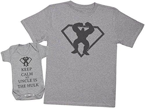 Keep Calm My Uncle is The Hulk - Ensemble Père Bébé Cadeau - Hommes T-Shirt & Body bébé - Gris - Medium & 12-18 Mois