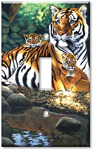 Light switch night light cover plateSingle Gang Toggle Wall Plate - Tiger and Cubs