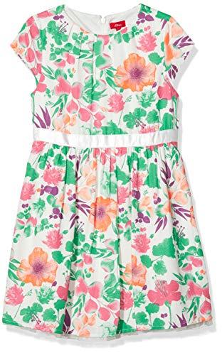 s.Oliver Mädchen 58.911.82.2974 Kleid, Weiß (White AOP 02B3), 128 (Herstellergröße:128/REG)