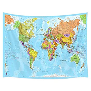 JAWO Map Tapestry World Map Tapestries Wall Art Hanging for Bedroom Living Room Dorm School Classroom Great Tool for Students and Teachers 60X40Inches Wall Blankets