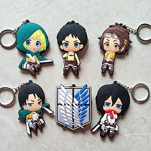 zzyou 5 Piezas Figura De Anime Japonés Ataque A Titán Eren Jaeger Levi Ackerman Armin Mikasa Llavero Modelo Mini Muñeca Juguetes 6-9Cm